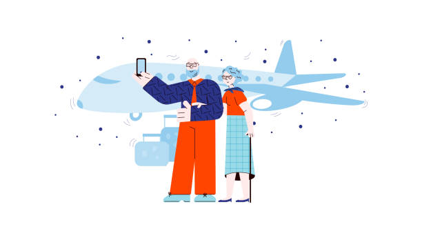 old people taking selfie in front of airplane - cartoon tourist couple - old man pic cartoons stock illustrations