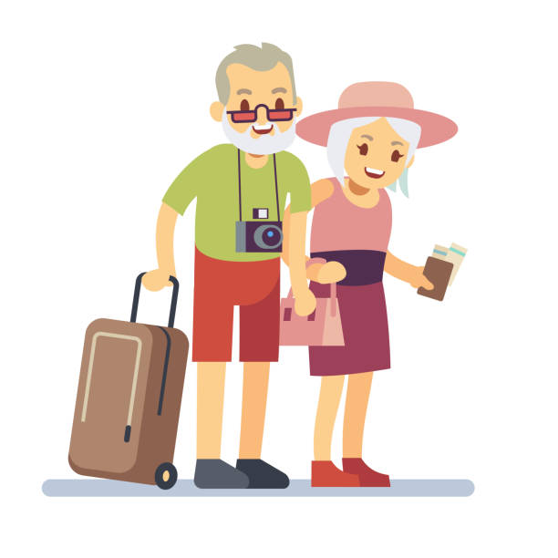 old people travelers on holiday. smiling grandparents on vacation. happy elderly veteran traveling vector concept - old man smile silhouette stock illustrations