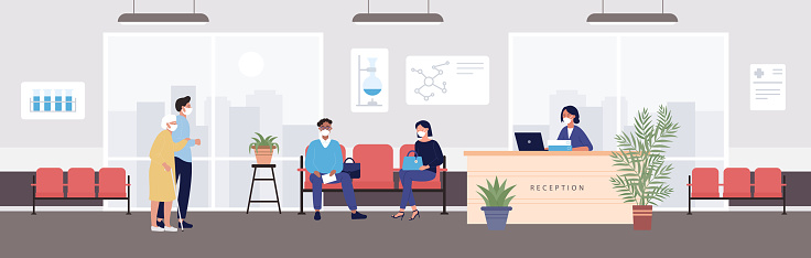 Old people visit hospital reception vector illustration, cartoon flat patient people in protective mask visiting hospital receptionist hall background