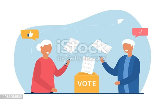 istock Old people voting online 1285058505