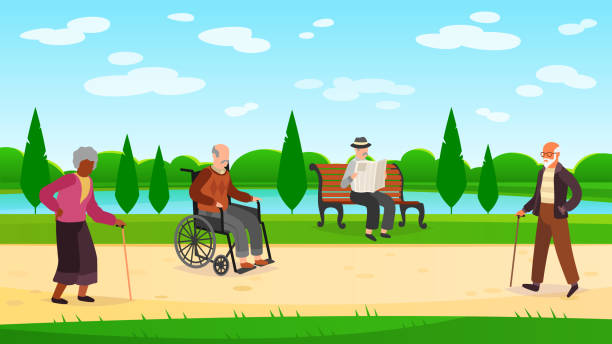 old people walking park. outdoors character grandpa grandma walk bench bicycle elderly man woman active pensioner banner - old man on bike stock illustrations, clip art, cartoons, & icons