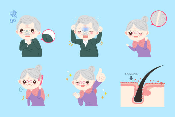old people with dandruff problem - old man showing thumbs up cartoons stock illustrations, clip art, cartoons, & icons