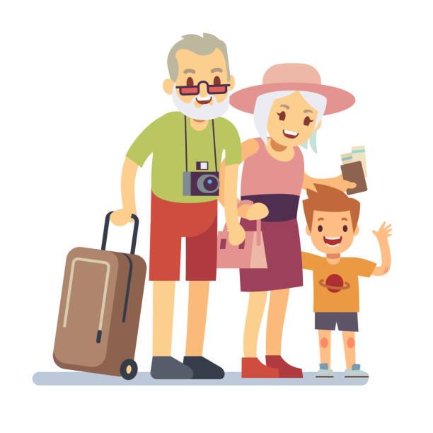 ilustraciones, imágenes clip art, dibujos animados e iconos de stock de ancianos con viajeros de nieto de vacaciones. abuelos sonrientes de vacaciones. concepto viaje veterano anciano feliz vector - nieto