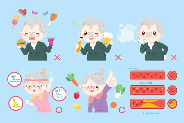 old people with health concept - old man showing thumbs up cartoons stock illustrations, clip art, cartoons, & icons