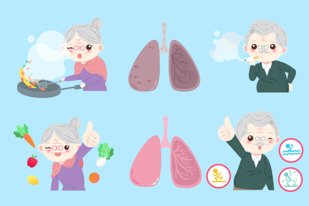 old people with lung health - old man showing thumbs up cartoons stock illustrations, clip art, cartoons, & icons