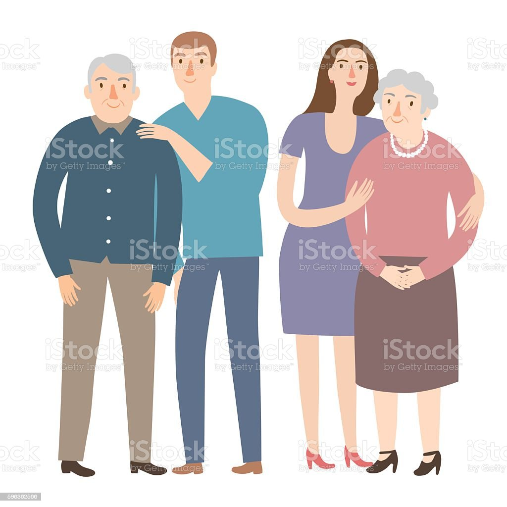 Old people with their  children royalty-free old people with their children stock vector art & more images of adult