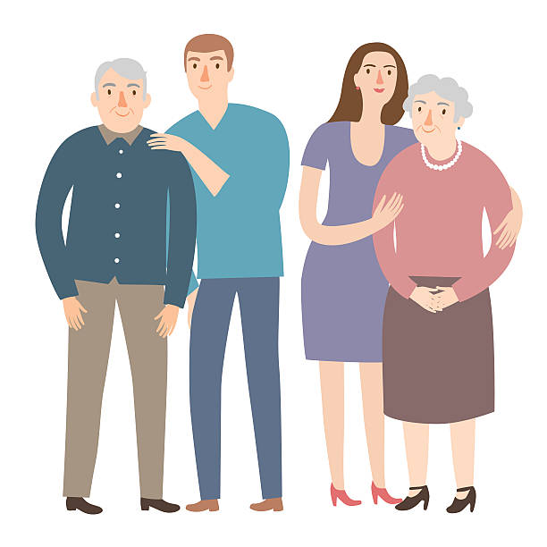 old people with their  children - old man smile silhouette stock illustrations