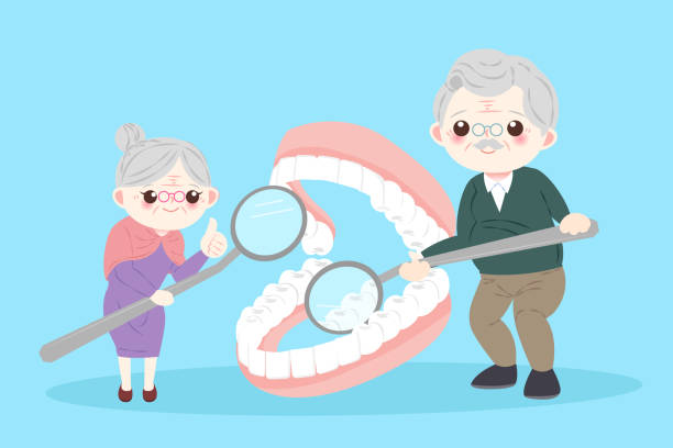 old people with tooth - old man showing thumbs up cartoons stock illustrations, clip art, cartoons, & icons