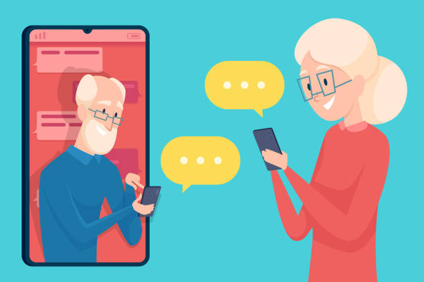 old person messaging. smartphone dialog dating of older person male and female online call talking elderly characters vector concept - starsi mężczyźni stock illustrations