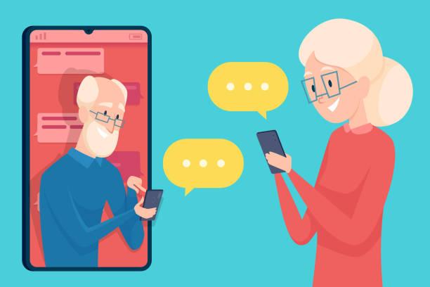 ilustrações, clipart, desenhos animados e ícones de mensagens de idosos. smartphone diálogo namoro de pessoa mais velha masculino e feminino chamada on-line falando personagens idosos conceito vetor - idoso