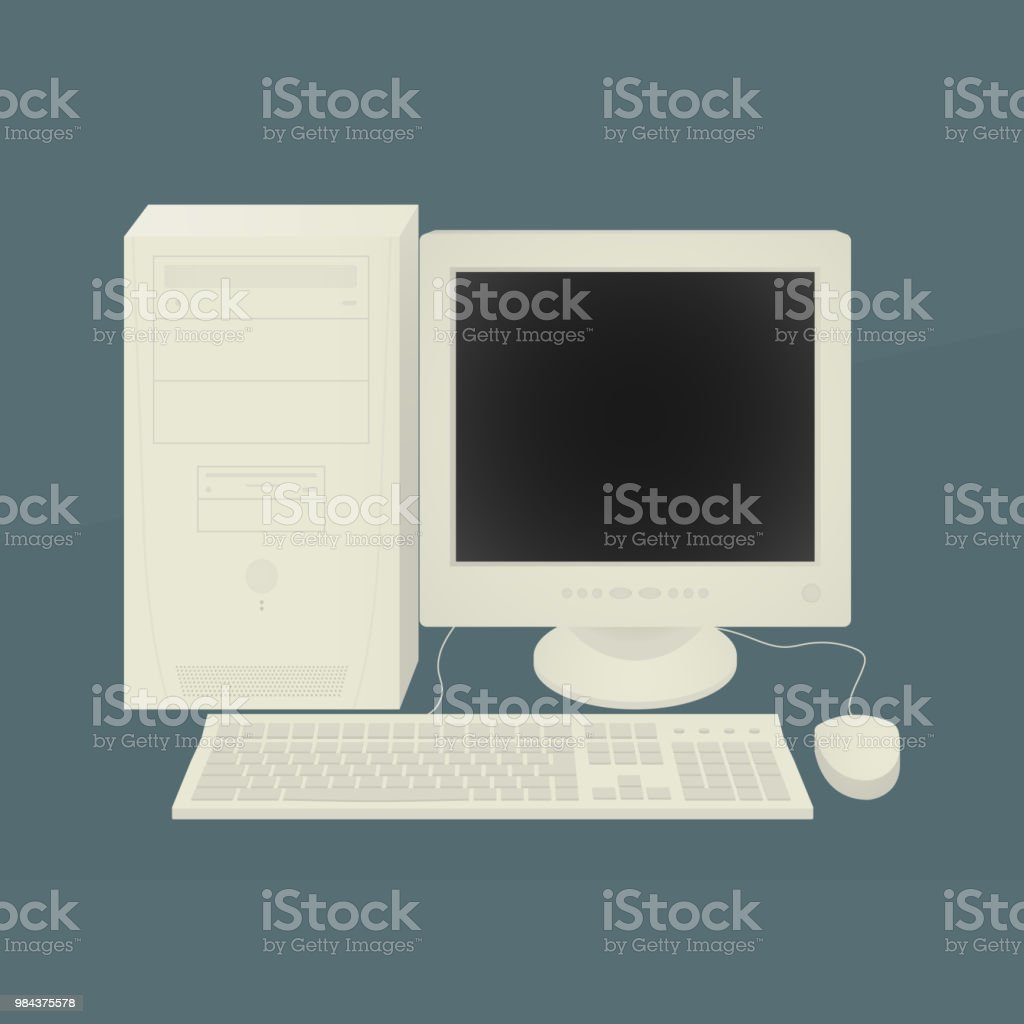 Old Personal Computer Vector Illustration Eps10 Retro Stock Vector