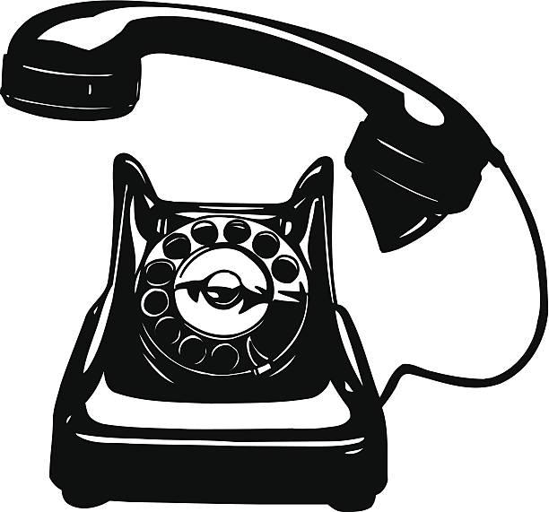Old Phone Rotary Vector Cartoon Clipart vector art illustration