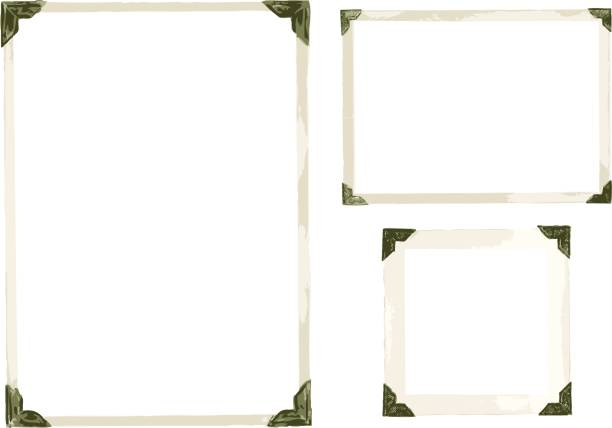 Old Photo Corners Vector Collection of old photo corners, frames and edges in vector isolated on white book borders stock illustrations