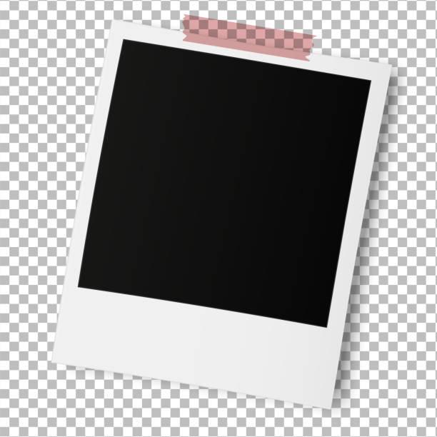 Old photo frame isolated on transparent background. Old photo frame isolated on transparent background. Vector illustration. polaroid frame stock illustrations