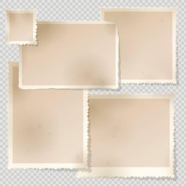 altes foto-frame-vorlage mit scharfen transparente schatten. - bildformate stock-grafiken, -clipart, -cartoons und -symbole