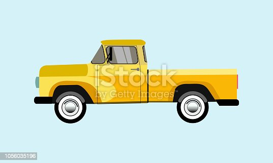 pickup truck. Classic truck. Isolated vector illustration