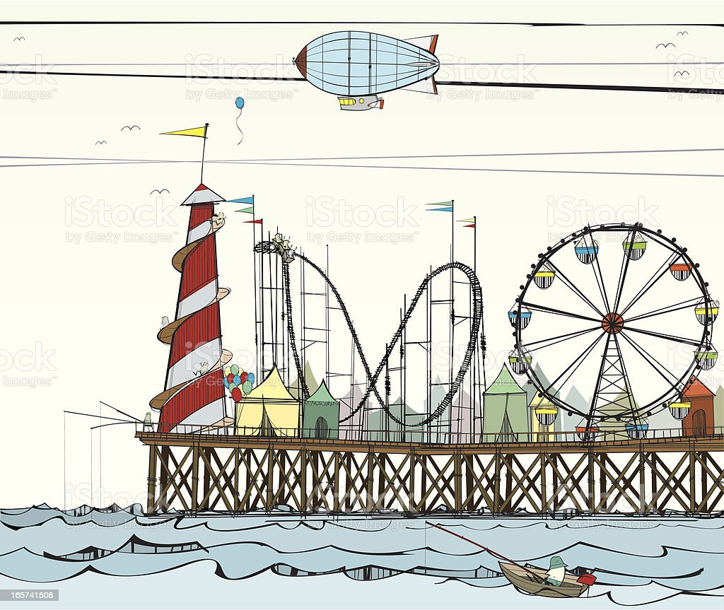Old Pier with Fairground Attractions vector art illustration
