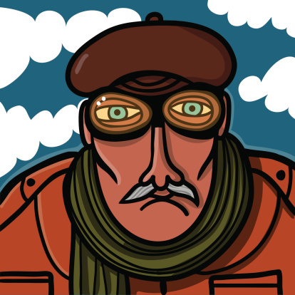 old pilot with glasses and aviator hat