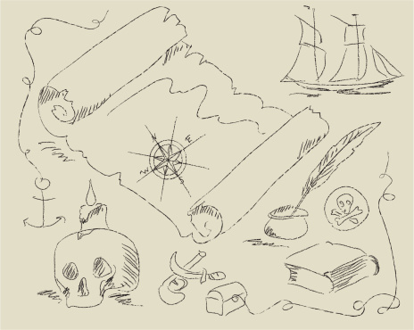 Old pirate map cartoon