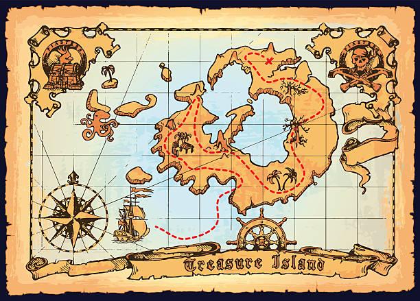 ilustrações, clipart, desenhos animados e ícones de old pirate map. skull island treasure vector map - mapas de tesouro