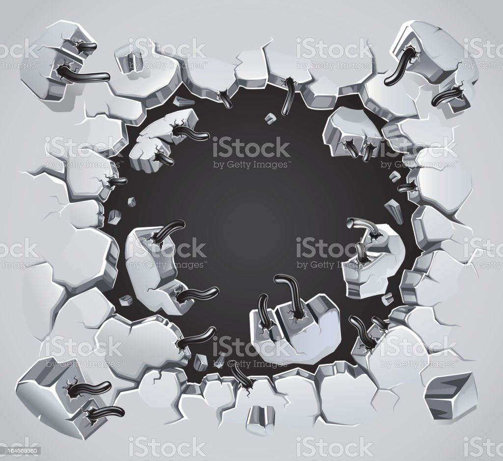 Old Plaster wall damage. royalty-free stock vector art