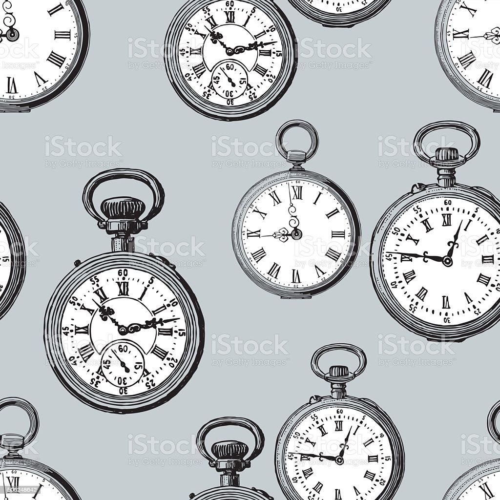 old pocket watches vector art illustration