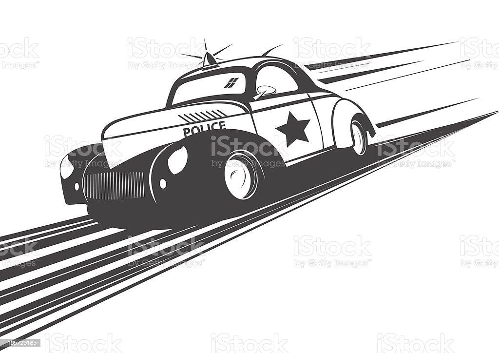 Old Police car runs fast vector art illustration