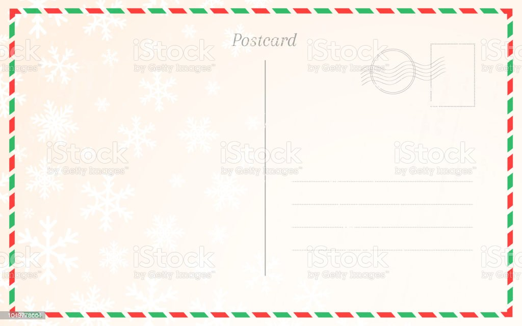 old postal card template with winter snowflakes postcard back design for christmas and new year