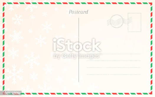 Old postal card template with winter snowflakes. Postcard back design for Christmas and New Year greetings