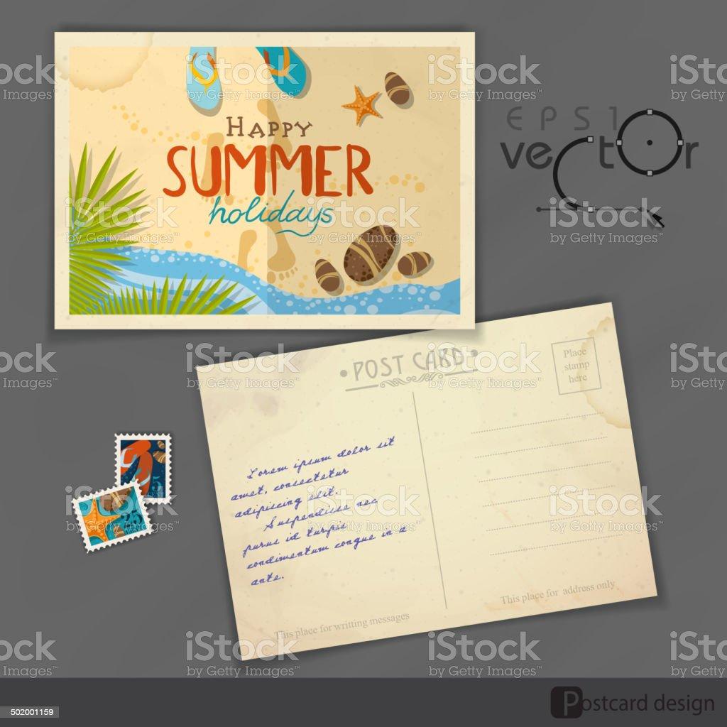 Alte Postkartedesignvorlage Vektor Illustration 502001159 | iStock