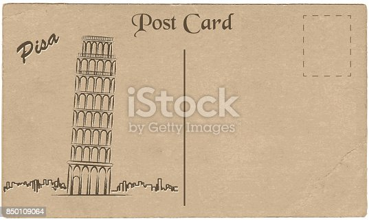 Old postcard from Italy with painted Leaning Tower of Pisa.  Stylization. Vector illustration.