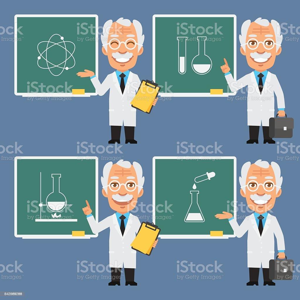 Old Professor Holds Points to Chalkboard vector art illustration
