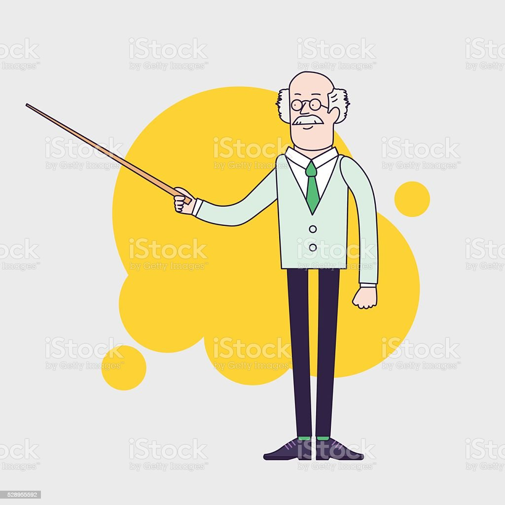 Old professor is showing something by pointer vector art illustration