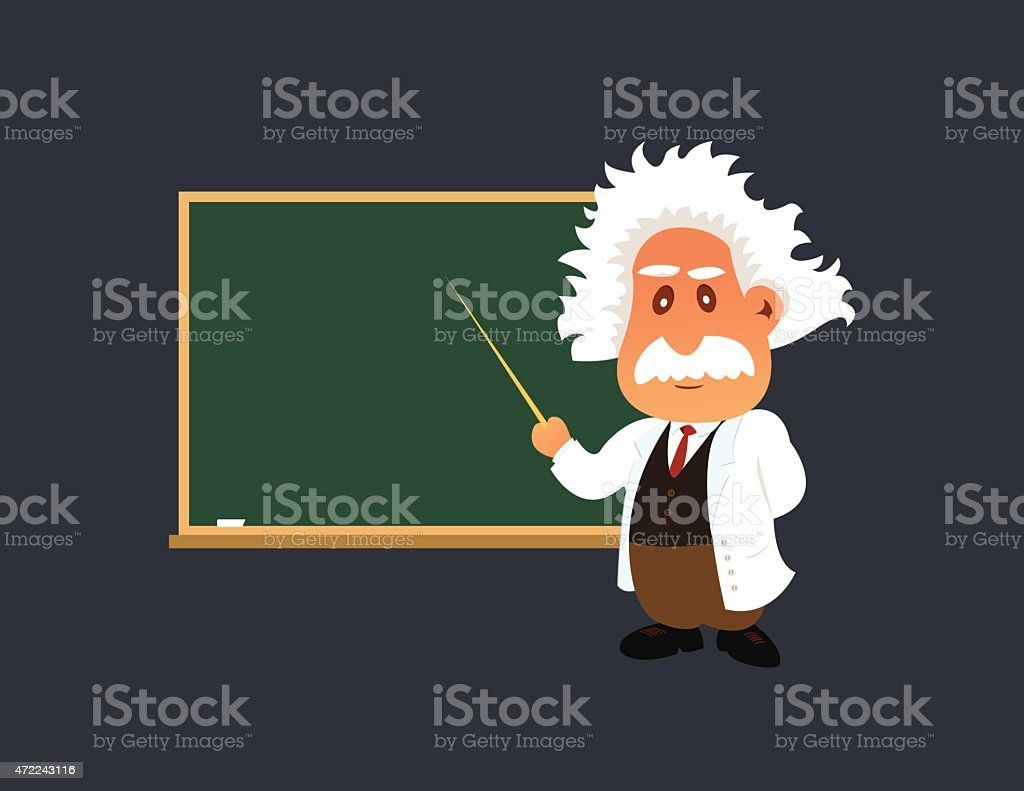Old professor is showing something on the green board vector art illustration