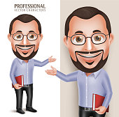 Old Professor Teacher Man Vector Character Holding Book with Eyeglasses