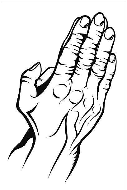 Royalty Free Praying Hands With Rosary Drawing Clip Art Vector