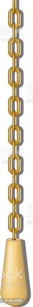 Old pull handle hanging on gold chain vector art illustration