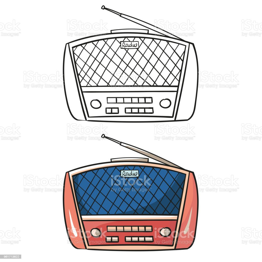 Old radio. Cartoon illustration of an old radio receiver of the last century. Red and pink retro radio vector art illustration