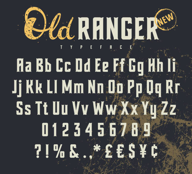 Old Ranger 001 Vintage vector alphabet in the western style. Wild West font. Uppercase, lowercase letters and numbers. Grunge background on a separate layer wild west stock illustrations