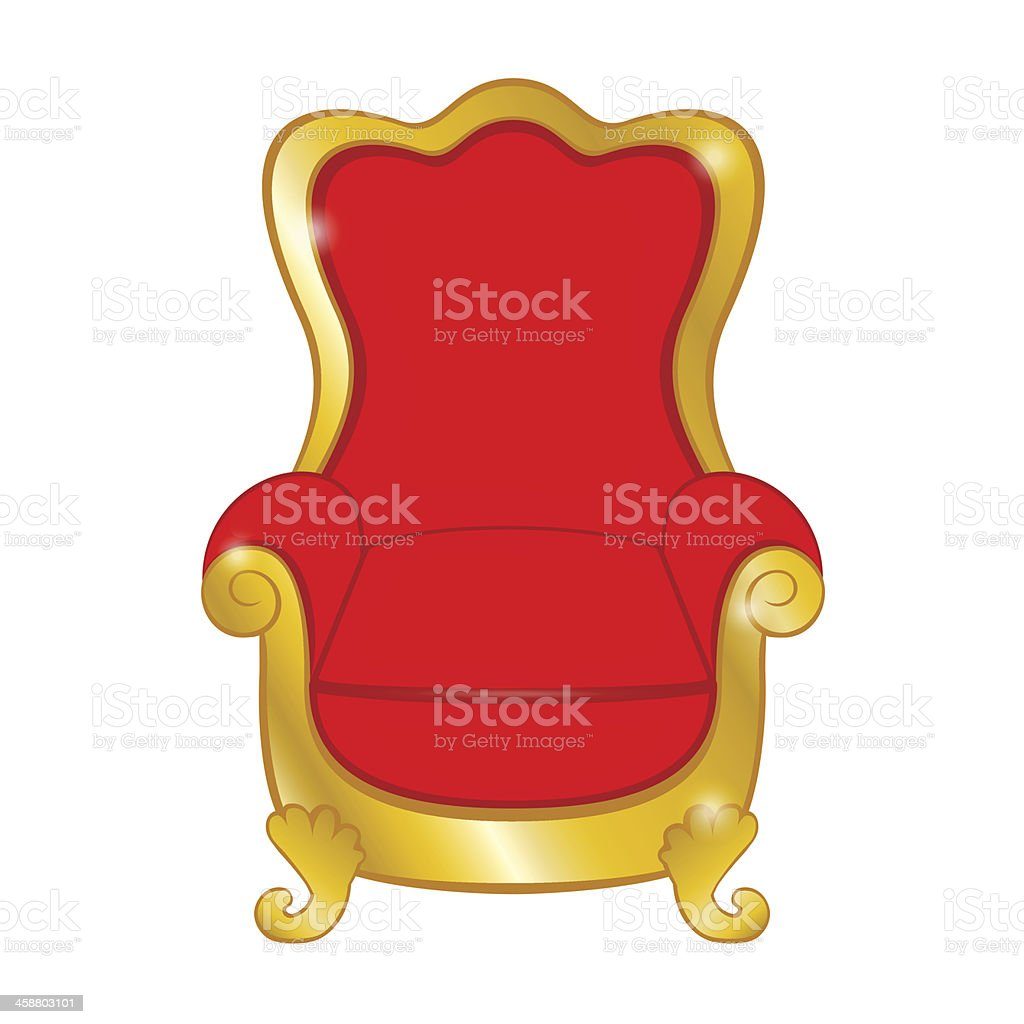Old red antique armchair on white background vector art illustration