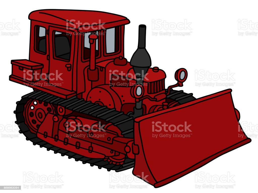 Old red bulldozer vector art illustration