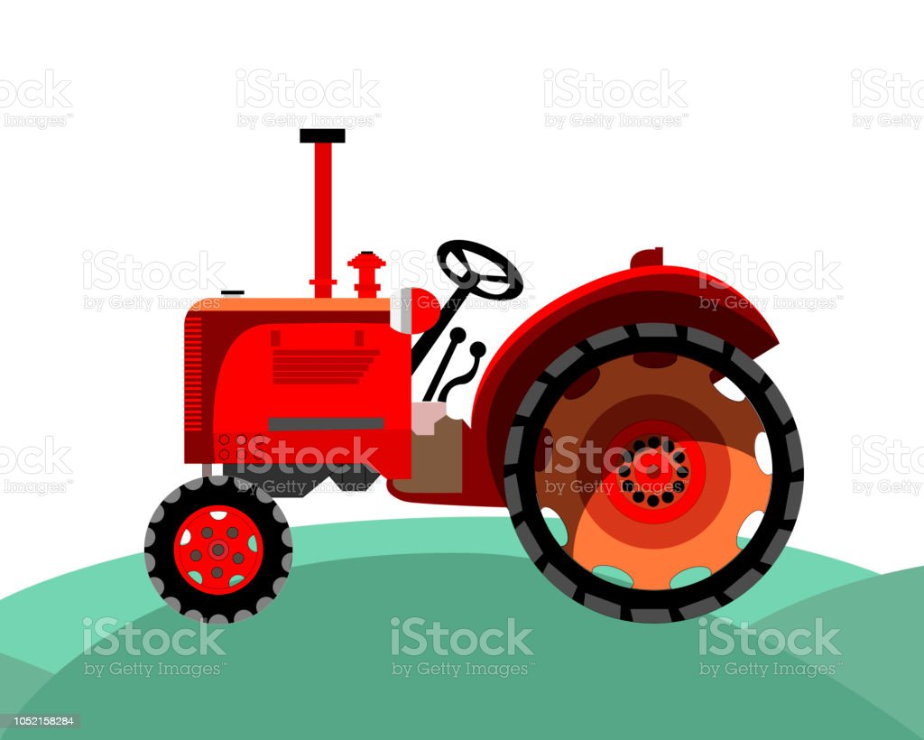 old red farm tractor vector art illustration