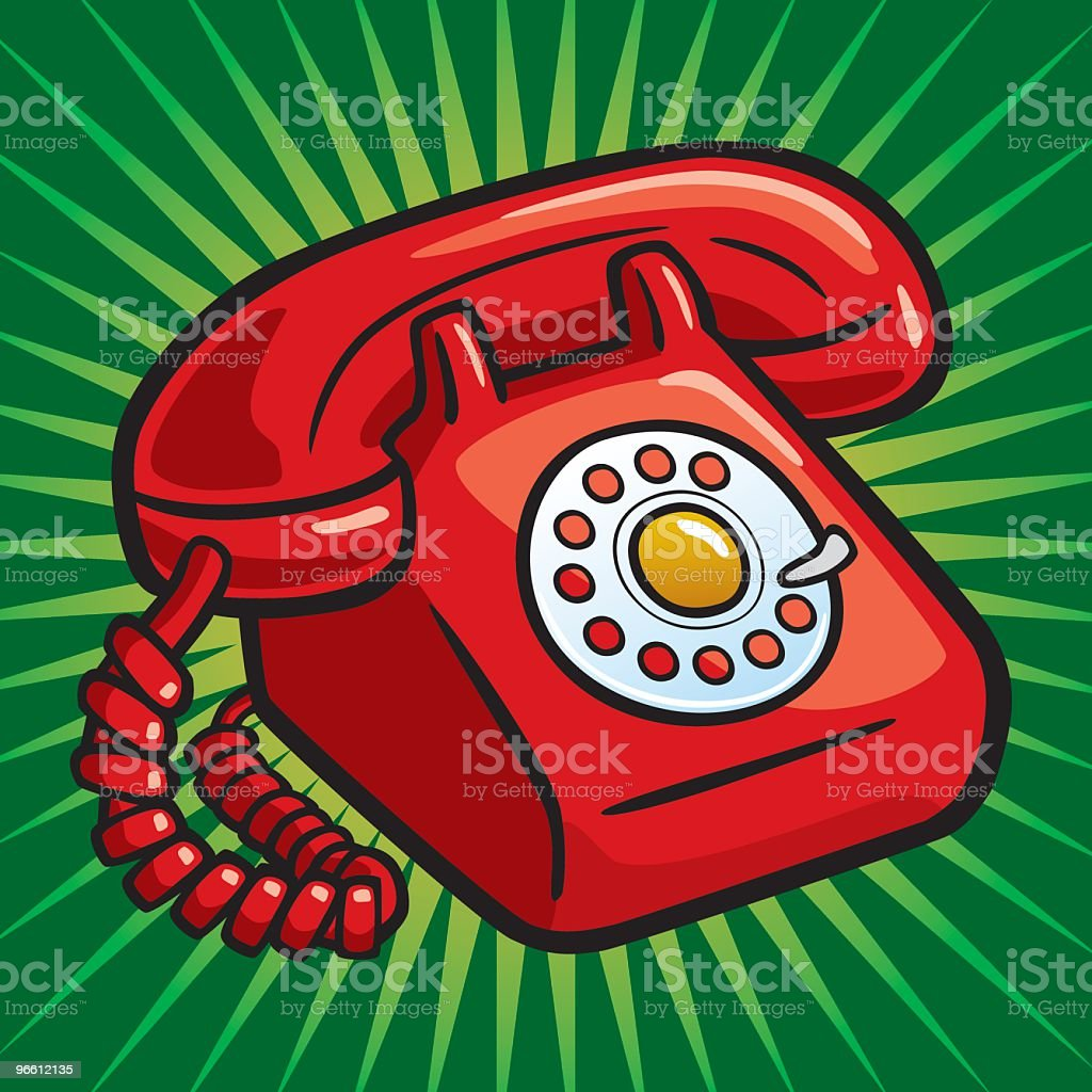 Old Red Telephone - Royalty-free Aanbellen vectorkunst