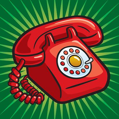 Old Red Telephone Stockvectorkunst en meer beelden van Aanbellen