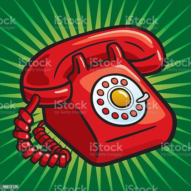 Old Red Telephone-vektorgrafik och fler bilder på Antik