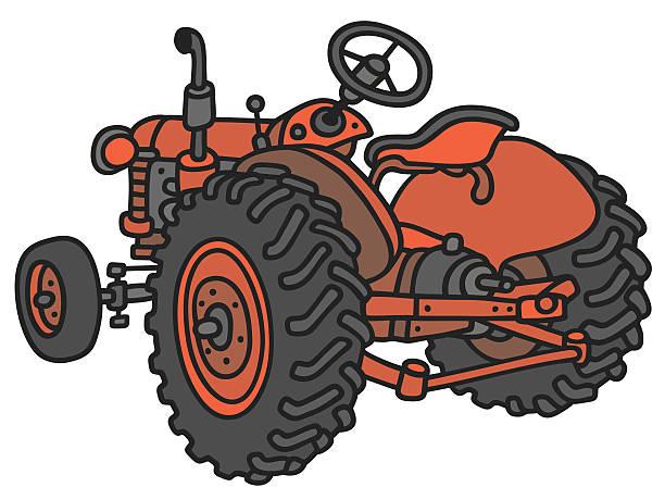 bildbanksillustrationer, clip art samt tecknat material och ikoner med old red tractor - traktor pulling