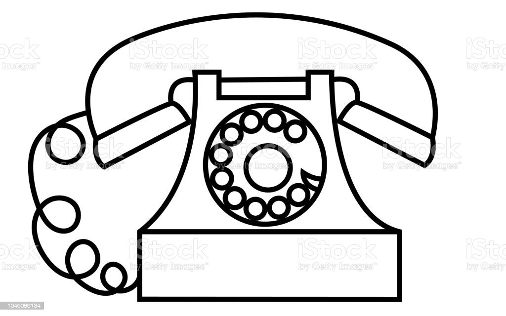 old retro antique vintage hipster black and white disc telephone iPhone Retro Phone old retro antique vintage hipster black and white disc telephone with a pipe drawn by a stroke on a white background