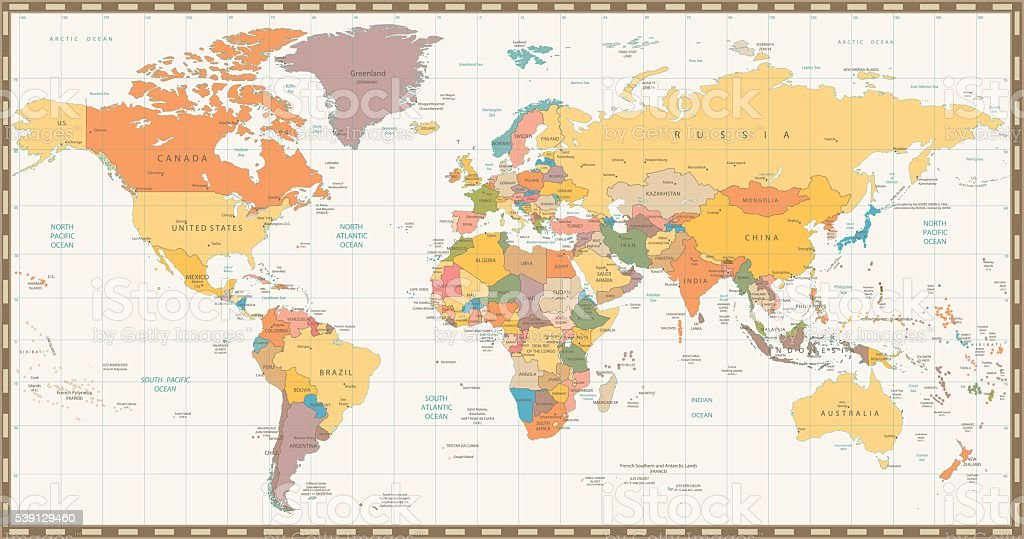 old retro color political world map royalty free old retro color political world map stock