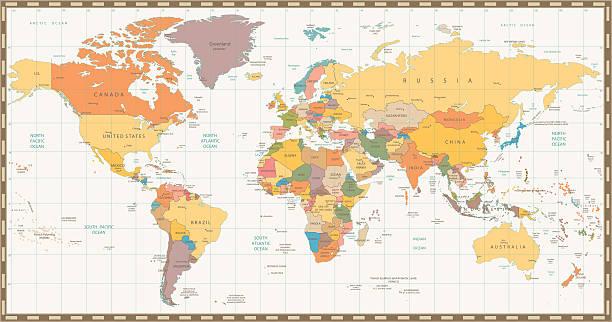 ilustraciones, imágenes clip art, dibujos animados e iconos de stock de color retro antiguo mapa del mundo político - político