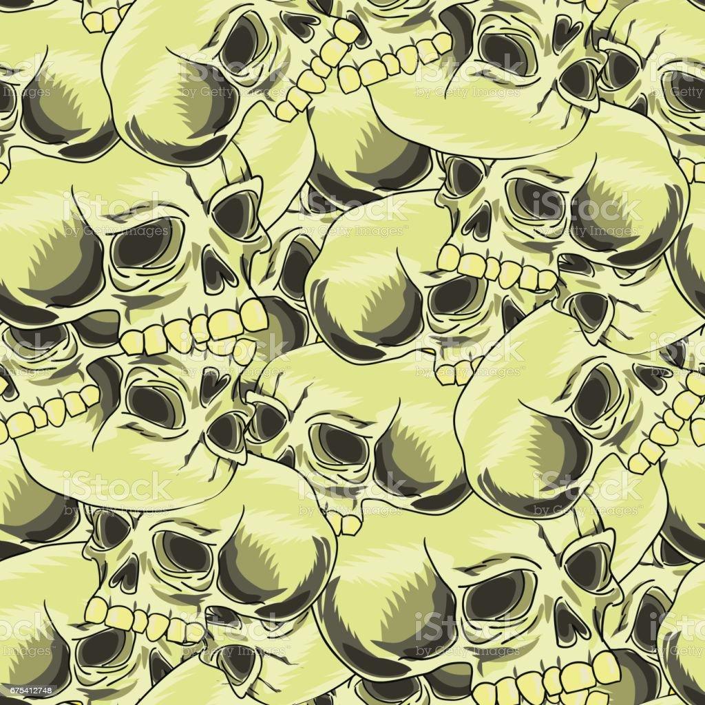 Vieux modèle sans couture rétro crâne humain vieux modèle sans couture rétro crâne humain – cliparts vectoriels et plus d'images de affiche libre de droits